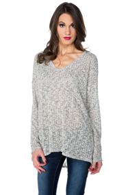 Textured Tunic Sweater with Back Slit