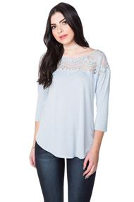 3/4 Length Sleeve Top with Ornate Lace Detail