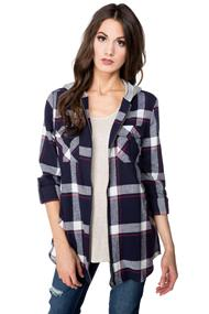 Flannel Plaid Zip-up Shirt with Hood