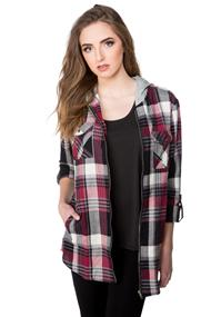 Plaid Flannel Zip-up Shirt with Hood