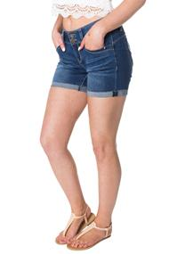 Wannabettabutt Jean Short with Cuffed Raw Edge