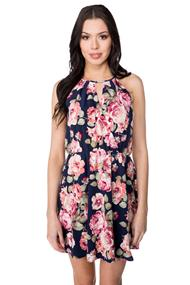 Floral Crossover Dress with Elastic Waist