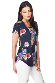 Floral Short Sleeve Sweater with Criss Cross Detail