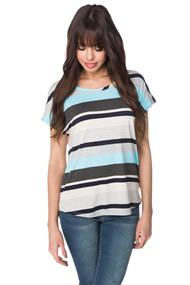 Variegated Stripe Top with Shirttail Hem