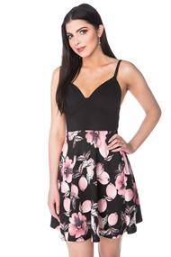 Double Strap Skater Dress with Floral Skirt