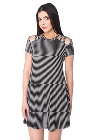 Striped Swing Dress with Ladder Cut Out Shoulder Detail