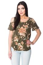 Floral Cold Shoulder Top with Shirttail Hem