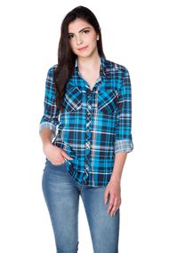Plaid Boyfriend Shirt with Roll-up Sleeves and High-low Hem
