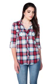 Plaid Knit Shirt with Roll-up Sleeves