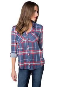 Boyfriend Plaid Shirt with Roll-up Sleeves and High-low Hem