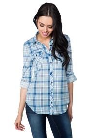 Roll-up Long Sleeve Plaid Shirt