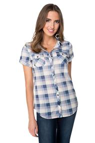 Plaid Pattern Shirt with Short Roll-up Sleeves