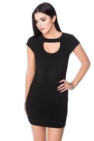 Cap Sleeve Bodycon Dress with Cut Out Scoopneck