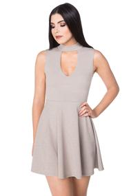 Choker V-neck Skater Dress