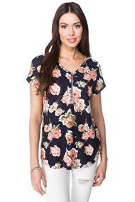 Floral Short Sleeve Sweater with Front Zipper