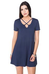 Short Sleeve Dress with Criss Cross Detail