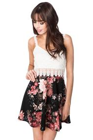Floral Dress with Lace Top and Straps