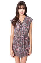 Aztec Print Dress with Zipper and Tie Belt