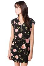 Floral Print Dress with Zipper and Tie Belt