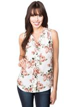 Floral Print Sleeveless Blouse with V-neck