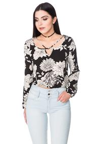 Floral Top with Criss Cross Detail and Elastic Hem