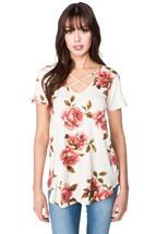 Floral Short Sleeve Top with Criss Cross Detail