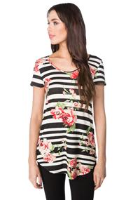 Striped and Floral Printed Top with High-low Hem