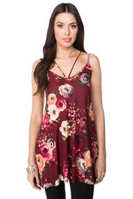 Strappy Floral Tunic Length Cami