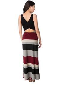 Maxi Dress with Striped Skirt