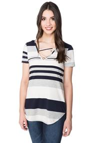 Variegated Stripe Top with Criss Cross Detail
