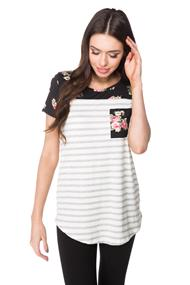 Striped Tunic with Floral Pocket