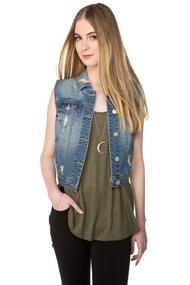 WallFlower Tessa Distressed Jean Vest
