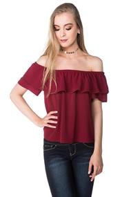 Bubble Crepe Off the Shoulder Top