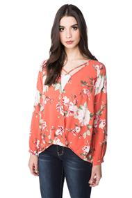 Floral Surplice Top with Criss Cross Detail