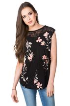 Floral Top with Lace Shoulders and Tie Belt