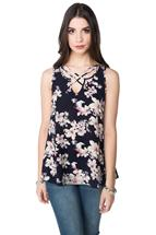Floral Bubble Crepe Top with Criss Cross Detail