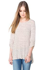 Knitted Tunic Length Sweater with High-low Hem