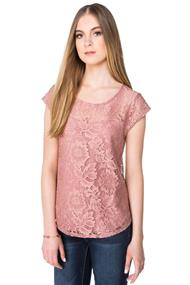 Lace Cap Sleeve Top with Shirttail Hem