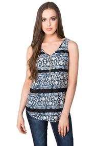 Batik Print Brushed Tank with Front Zipper