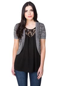 Pointelle Short Sleeve Shrug