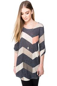 Chevron Tunic with Roll-up Sleeves