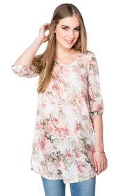 Floral Tunic Length Sweater with High-low Hem