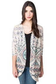 Aztec Print Cocoon Cardigan with 3/4 sleeves