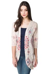 Aztec Sublimation Print Cocoon Cardigan with 3/4 sleeves