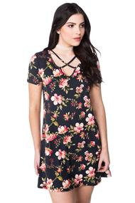 Brushed Floral Dress with Criss Cross Detail