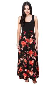 Tropical Print Maxi Dress with Solid Bust