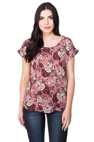 Textured Floral Print Top with Shirttail Hem