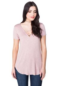Short Sleeve Top with Criss Cross Detail
