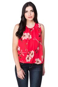 Hibiscus Pattern Sleeveless Top with Bubble Hem