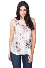 Floral Sublimation Print Knit Top with Keyhole Back